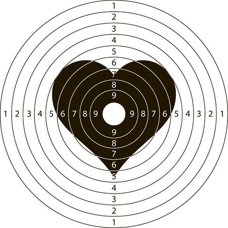 shooting target: shooting target heartfor the shooting range small arms made in the vector Illustration