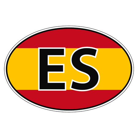 kingdom of spain: Sticker on car, flag Kingdom Spain with the inscription ES vector for print or website design for language buttons Illustration
