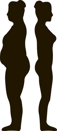 dress size: Illustration of a fat and slim woman figure