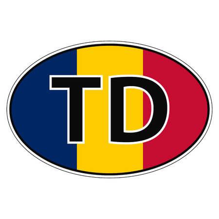 Sticker on car, flag  with the inscription TD vector for print or website design for language buttons Illustration