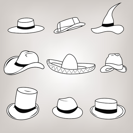 médula: Hipster Retro Vintage Vector Icon Set hats - sombrero, cylinder, passport, Safari pith hat, wizard, hat Ravin, English hat, hat cowboy. Vectores
