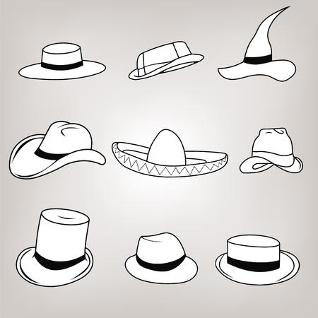 médula: Inconformista retro Vector Icon Set - sombreros sombrero, cilindro, pasaporte, sombrero de médula Safari, mago, sombrero de Ravin, sombrero Inglés, sombrero de vaquero.