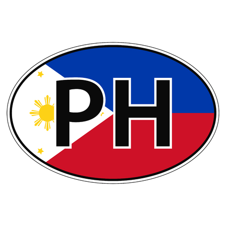 car flag: Sticker on car, flag Republic of the Philippines with the inscription PH vector for print or website design for language buttons