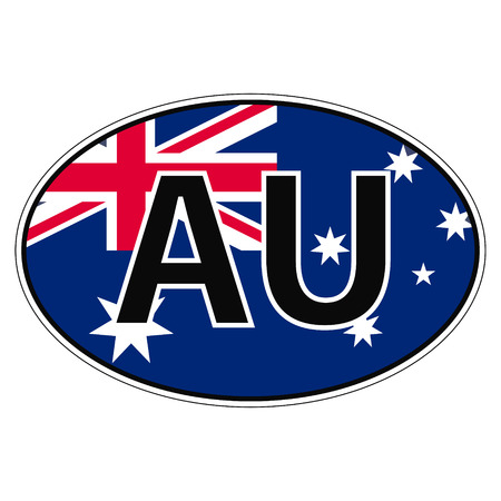 car flag: Sticker on car, flag Commonwealth Australia with the inscription AU vector for print or website design for language buttons