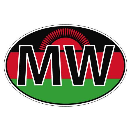 car flag: Sticker on car, flag Malawi the inscription MW vector for print or website design for language buttons Illustration