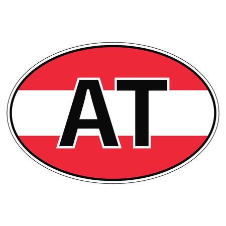car flag: Sticker on car, flag Austria the inscription AT vector for print or website design for language buttons Illustration