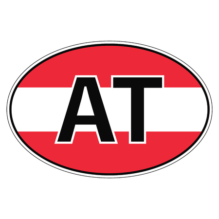 Sticker on car, flag Austria the inscription AT vector for print or website design for language buttons Illustration