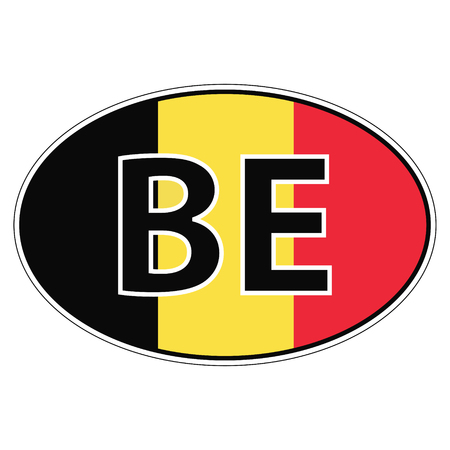 car flag: Sticker on car, flag Kingdom Belgium with the inscription be vector for print or website design for language buttons