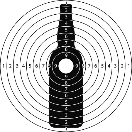 shooting target: shooting target bottle for the shooting range small arms made in the vector