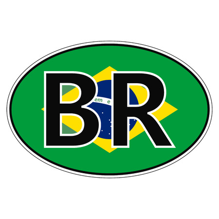 federative republic of brazil: Sticker on car, flag of Federative Republic Of Brazil with the inscription BR vector for print or website design for language buttons Illustration