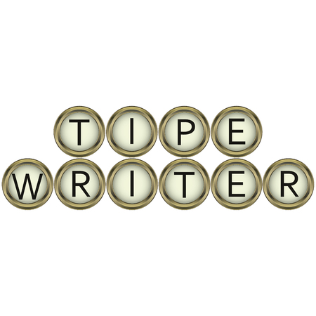 typewriter key: word typewriter buttons from vintage typewriters in vector for print or design