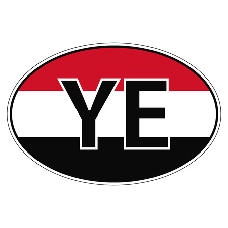ye: Sticker on car, flag Yemen with the inscription YE vector for print or website design for language buttons