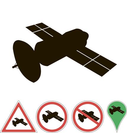 white pointer: sign satellite on white pointer
