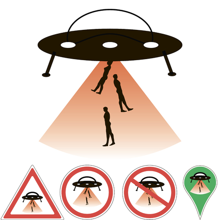abduction: UFO abduction alien ship beam, signs and pointers vector, for design or printing