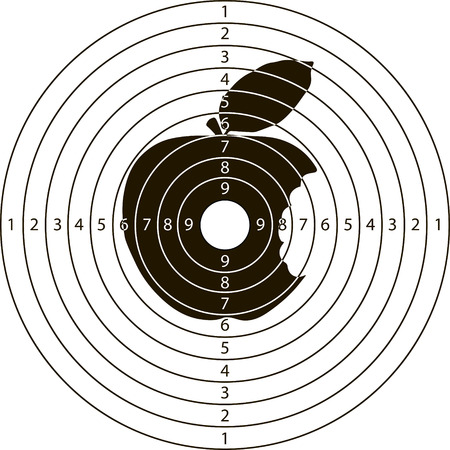 range fruit: shooting target bitten Apple for the shooting range small arms made in the vector Illustration