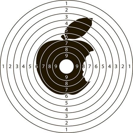 tiro al blanco mordida de Apple para el campo de tiro de armas pequeñas hechas en el vector Ilustración de vector