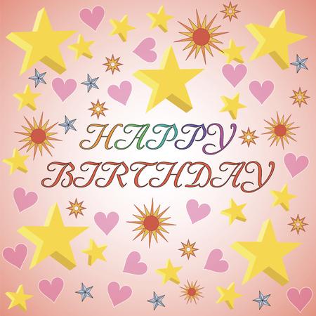 Card banner greetings happy birthday3d stars in different colors card banner greetings happy birthday3d stars in different colors hearts stars m4hsunfo
