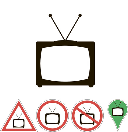 white pointer: sign TV on white pointer