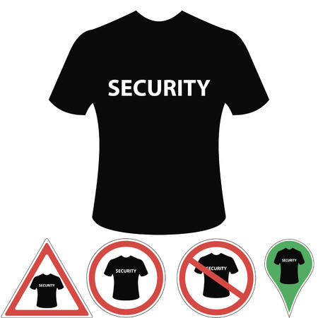 sentry: T-shirt security of protection, signs and pointer security, vector for print or design Illustration