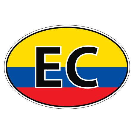 car flag: Sticker on car, flag Ecuador the inscription EC vector for print or website design for language buttons