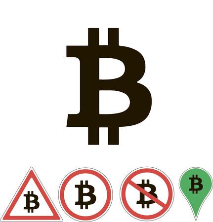 white pointer: bitcoin signs on white pointer