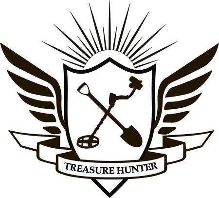 heraldic  treasure hunter shield, wings, shovel, metal detector