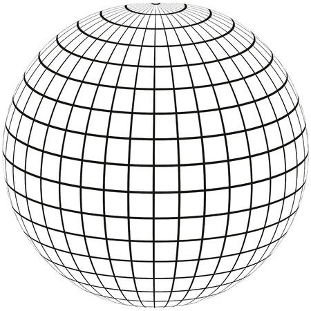 bola con el globo de la Tierra con las líneas del meridiano de longitud, ilustración vectorial 3D esfera de enojar diseño de impresión o sitio web