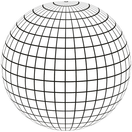 ball with lines Earth globe with Meridian and longitude, 3D sphere vector illustration of angering print or website design
