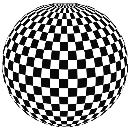 sphere with squares the ball with a square pattern on the convex surface, 3D vector illustration of angering print or website design