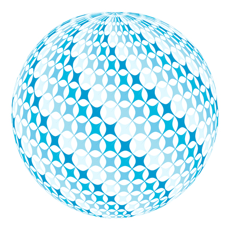 diagonal  square: ball with diagonal square swirl, blue stars on the globe planet, 3D and vector illustration for print or website design Stock Photo