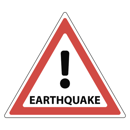 sign of the earthquake, the red triangle exclamation mark and the text earthquake, vector Illustration