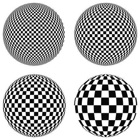 Set 3D balls with squares of black and white on a plane, sphere, vector