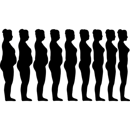 big size: Set of silhouettes of girls losing weight, concept of healthy lifestyle, calendar template for weight loss, vector