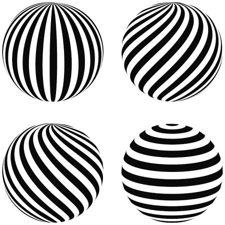 boules Set rayé 3D, remous en diagonale, courbure horizontale, arc vertical sur la sphère, vecteur planète