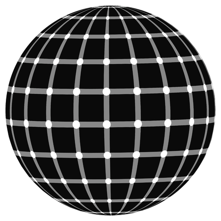 protuberant: globe effect the illusion of black dots, vector Illustration