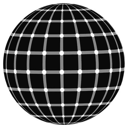 globe effect the illusion of black dots, vector Illustration