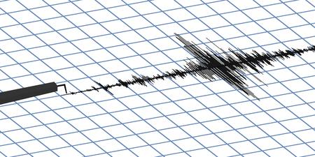 sismográfo: Sismograma de diferentes ilustración vectorial registro de actividad sísmica, onda del terremoto sobre la fijación de papel, equipo de música de fondo Diagrama de onda de audio. signos de un sismo. la actividad sísmica del terremoto, vector