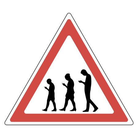 sign people smartphone, attention not attentive enthusiastic people using mobile devices in a red triangle, vector