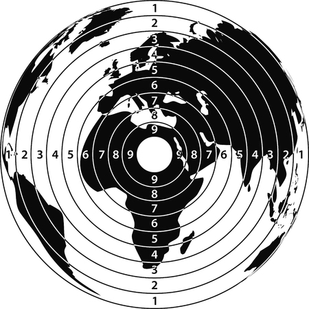 Target map of the earth for the shooting, printing, and website design, vector Vectores
