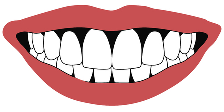 visage: lips front teeth open mouth white front teeth dentistry concept, vector Stock Photo