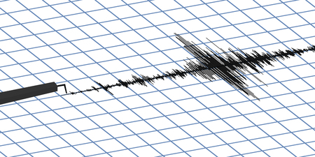Seismogram of different seismic activity record vector illustration, earthquake wave on paper fixing, stereo audio wave diagram background. Earthquake sign. Earthquake seismic activity, vector Stock Photo