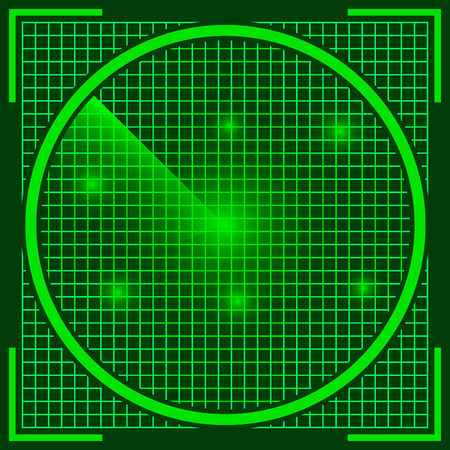 discovered: radar screen, the real sonar green color with a discovered UFO objects on the screen, alien invasion, vector