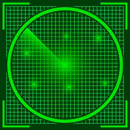 sonar: schermo radar, il vero colore verde sonar con oggetti UFO scoperti sullo schermo, invasione aliena, vettore Archivio Fotografico