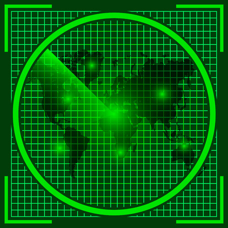 discovered: radar screen with world map of the earth, the real sonar green color with a discovered UFO objects on the screen, alien invasion, vector Stock Photo