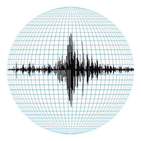 seismograph: diagram of earthquakes on planet earth, the concept of seismic activity, the record of the seismograph in the field, vector Stock Photo