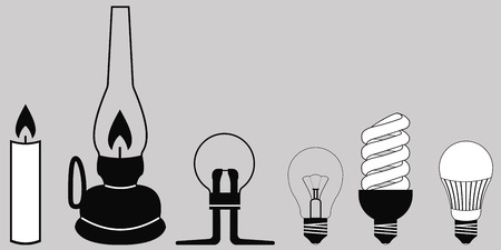 evolution lighting lamps, lighting lamps of different eras, the concept of energy saving, vector Illustration