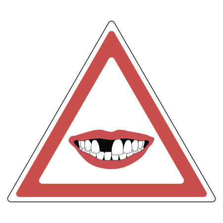 incisor: road sign warning of toothless people, red triangle with a toothless smile - the absence of a Central incisor tooth, vector