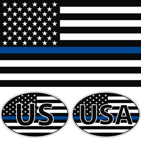 Een Amerikaanse vlag het symbool van steun voor de rechtshandhaving, de vlag van de VS met een blauwe streep centrum, sticker Stock Illustratie