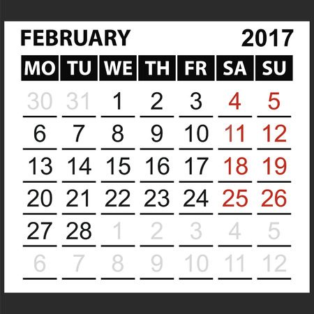saturday: calendar sheet February 2017, Saturday and Sunday the weekend of the red color, vector easy to edit