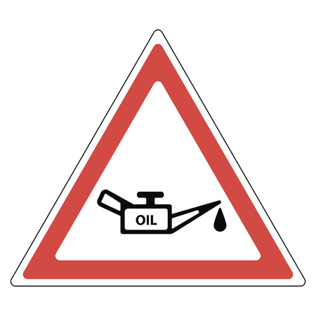 sign oil change, a red triangle with oil and a drop of oil, a road sign, a pointer to the service station of cars, vector